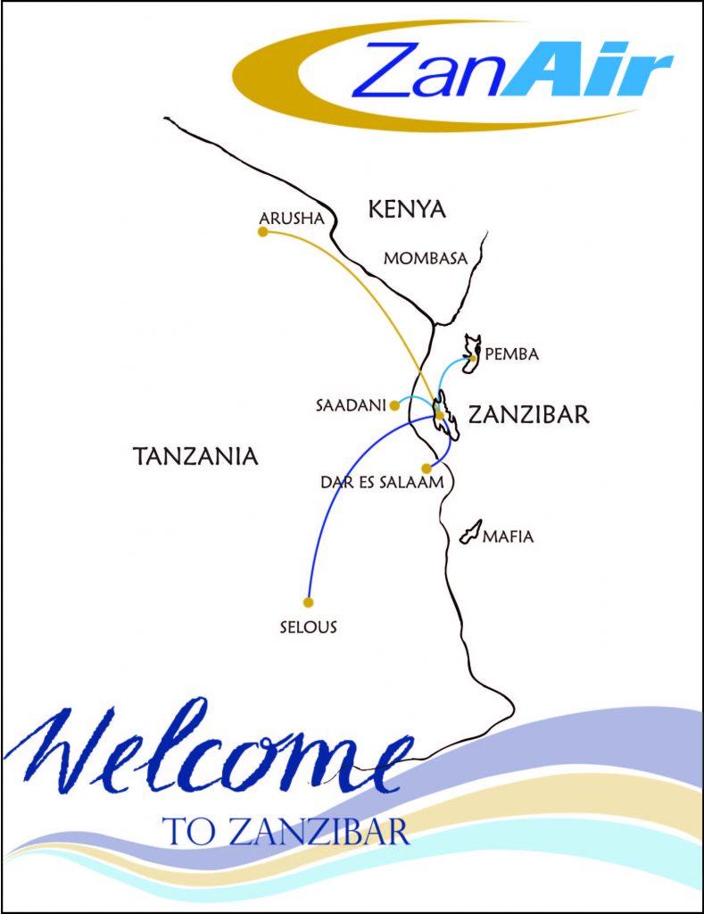 ZanAir Routes Tanzania