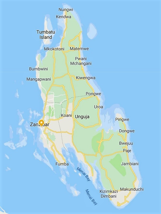 Unguja Map